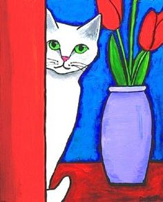 Next Post Previous Post White Cat and Red Tulips – Print Shelagh Duffett Weiße Katze und rote Tulpen – Shelagh. Red Tulips, Red Poppies, Graffiti Kunst, Arte Pop, Art And Illustration, Cat Drawing, Drawing Ideas, Whimsical Art, Cat Art