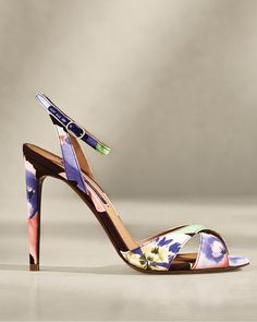 The Kandice Floral Silk Sandal is exquisitely crafted in Italy from silk marocain printed with a stunning watercolor-inspired motif featuring a collection of orchids. #RalphLauren Ralph Lauren Collection, Kitten Heels, Glamour, Sandals, Elegant, Orchids, Floral, Bags, Italy