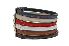 Rolled Leather Dog Collar Soft Floater 12 Colors by TopPetShop.