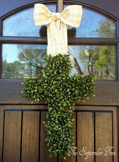 Faux Cross Boxwood Wreath 18  Easter Wreath  by TheSeptemberTree