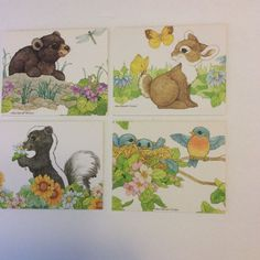 """4 Vtg Unused Current Note Cards Carefree Capers Ann Wilson 5""""x4"""" Baby Animals"""