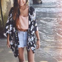 Floral Cardi and Denim Shorts