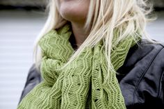 A knitted Green Scarf, made from 100% cotton, this Oversized Lace scarf design is inspired by walks in the Suffolk countryside with my dog