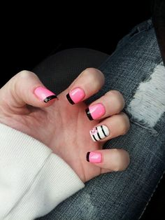 not crazy about the accent nail, but i love the pink and black :)