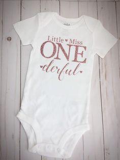 Excited to share this item from my #etsy shop: Little Miss One-derful Onesie, One Year Onesie, Milestone Onesie, First Birthday Onesie, Baby Girl First Birthday Onesie