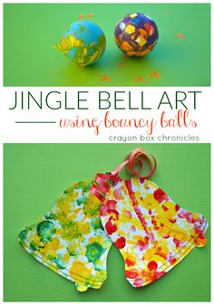 Easy Christmas bell painting activity for kids using bouncy balls by Crayon Box Chronicles.  Great tactile sensory input and gross-motor play.  Makes a fun kid-made ornament.