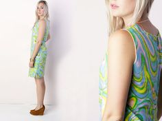 vintage 70's pastel swirl cocktail party dress by foxandfawns, $44.00