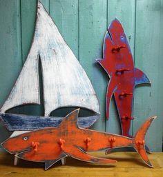 Shark Hook Coat Rack Sign Beach House Decor Wall by CastawaysHall. ⚓ByDiver969⚓