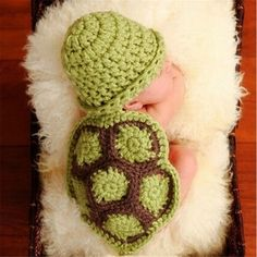 2016 New Newborn Baby Knitted Clothes Funny Crochet Babies Photography Props Turtle Infant  Beanie Hat Outfit Toddler Costume