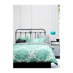 Aura Giant peony duvet cover set ($170) ❤ liked on Polyvore featuring home, bed & bath, bedding, duvet covers, oversized bedding, mint green bedding, white bedding, queen duvet cover set and floral queen bedding