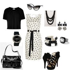 LOVE this dress and shoes. I would have to add some color with other accessories. :)