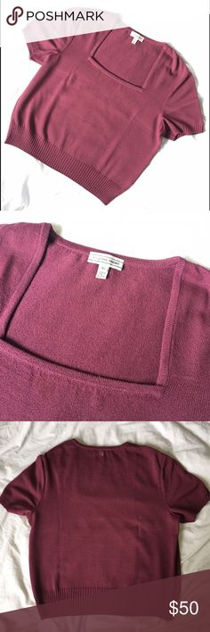 St John Sport Purple Square Neck Knit Top This St John Sport Knit top is a lovely purple/pink hue! 80% wool, 20% rayon. Excellent condition. Features a stitched SJ logo on the back of the neck. St. John Tops