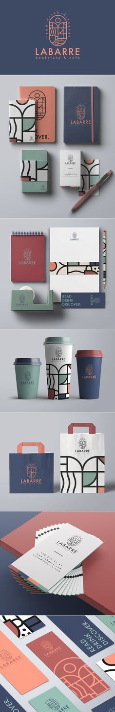 26 New Creative Branding, Visual Identity and Logo Design Examples Branding: Labarre Bookstore & Cafe Branding Design von ONTO Design Studio Business Logo Design, Brand Identity Design, Graphic Design Branding, Corporate Design, Flyer Design, Design Packaging, Brand Design, Design Studio, Home Design