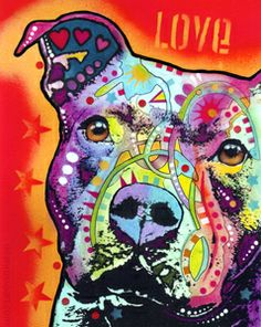 Dean Russo Art — Thoughtful Pit Bull PRINT