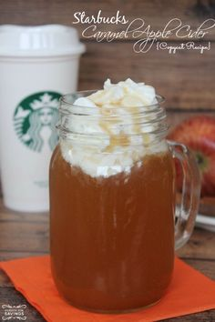 Starbucks Spiced Caramel Apple Cider Recipe! This is a delicious Fall Food Recipe that is perfect for cold weather!
