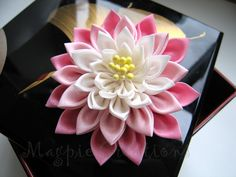 hand crafted fabric lotus flower from Magpie Creations - Wa-loli Clothing Cloth Flowers, Felt Flowers, Diy Flowers, Fabric Flowers, Ribbon Art, Ribbon Crafts, Flower Crafts, Japanese Flowers, Kanzashi Flowers