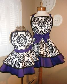 matching mommy baby full aprons!!! purple and damask! who wants to buy them for me????