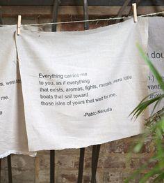 Linen Pablo Neruda Quote Wall Art