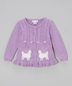 Lilac Poodle Cable-Knit Ruffle Cardigan - Infant, Toddler & Girls | something special every day