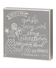 Take a look at the 'God Promised Her' Box Sign on #zulily today!