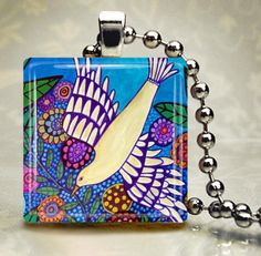 White Dove BIRD JEWELRY Necklace Pendant Charm Glass Tile Silver Flowers Gift
