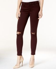 Dl 1961 Margaux Ripped Malbec Wash Ripped Skinny Jeans - Red 27