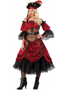 SWASH BUCKLING SCARLET WOMEN'S PIRATE COSTUME - Click image twice for more info - See a larger selection womens  pirate costume at  http://costumeriver.com/product-category/womens-pirate-costume/ - womens, holiday costume , event costume , halloween costume, cosplay costume, classic costume, scary costume, pirate, classic costume, clothing