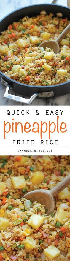 Pineapple Fried Rice - A quick and easy weeknight meal that's so much cheaper, tastier and healthier than take-out! – More at http://www.GlobeTransformer.org