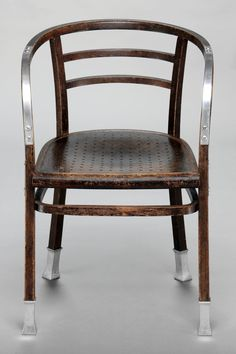 Armchair, 1904 by Otto Wagner (bent beech wood, perforated laminated wood, aluminium)