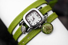GREEN Wrap Watch with real FLOWER - light green nappa leather with stainless steel watch and real flower charm. Jewelry for her. on Etsy, $43.89 CAD