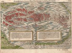 Venice Italy Antique City View Munster 1572 Original #Munster