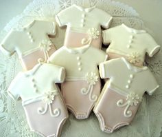 Six Pink and White baby girl onsie sugar cookies