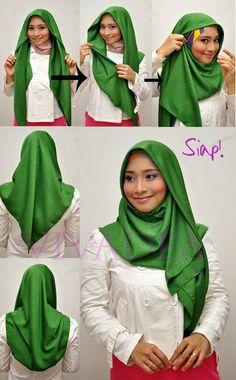 Very simple turban style hijab tutorial Tutorial Hijab Modern, Hijab Style Tutorial, Hijab Turban Style, How To Wear Hijab, Hijab Fashionista, Scarf Styles, Hijab Styles, Beautiful Hijab, Denim Fashion