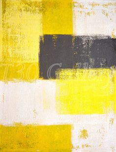 Simply Modern, 2012 - Artwork Modern Contemporary Abstract Painting Wall Decorative Free Shipping Grey Yellow White 11x14 12x18 16x20 Print on Etsy, $14.00