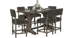 Found this great product at cityfurniture.com, for only $2,499.95.  The sheer simplicity of the Belgian Oak high dining table lends to its allure. Crafted from the same rustic oak as the rest of the collection, this high dining table has a monastery feel to it, perfect for window-side dining for four to six people, and includes four upholstered barstools to match. These barstools feature a rich cover on the back and seat tied together with hand-applied nailhead trim. #Breakast table