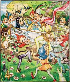vintage Snow White and the Seven Dwarfs  illustration