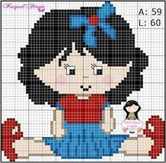 Bom dia amadas.  Trouxe um gráfico novo pra vocês, uma menininha sentadinha.       Espero que gostem.  Bons bordados.  Beijinh♥ carinhoso   ... Cross Stitch Charts, Cross Stitch Designs, Cross Stitch Patterns, Pixel Crochet Blanket, Stitch Doll, Minnie, Pixel Art, Smurfs, Chibi