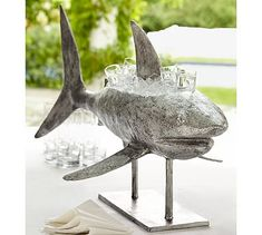 Because obviously, if I were rich I would need a shark to keep my beverages cold.  Shark Beverage Cooler #potterybarn