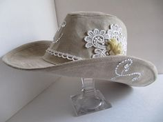 Cowgirl Hat OAK Bohemian Hat Cowboy Hat Shabby by GoldenDreamFinds