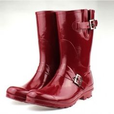 Red Rain Boots with Buckle Detail from GirlyEssence