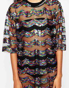Story Of Lola Festival Big Tee Sequin Dress In Sheer Fabric   <3 @benitathediva