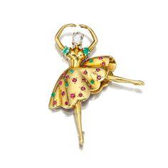 "A diamond, emerald, and ruby ""Danseuse"" brooch, Van Cleef & Arpels,"