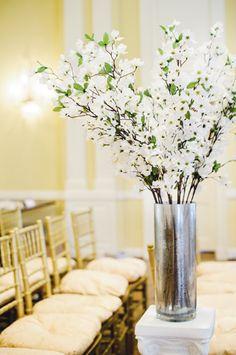 Champagne Wedding Ceremony Floral Arrangements
