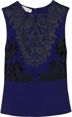 Letitia Embroidered Crepe Peplum Top - Lyst