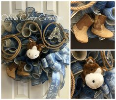 Just made this adorable Curly Deco Mesh Wreath for a Boys Baby Shower with a cute little Western theme. The horse is removable and spreads out like a little blanket that squeaks when you push on the corners. Horse Baby Showers, Cowboy Baby Shower, Baby Shower Cakes For Boys, Baby Boy Cakes, Boy Baby Shower Themes, Baby Shower Gender Reveal, Baby Shower Parties, Baby Boy Shower, Baby Shower Gifts