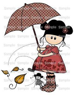 Autumn umbrella Nina dolls 0116 clip art set images for por Withart