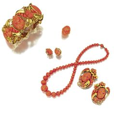 SUITE OF GOLD AND CORAL JEWELRY, SEAMAN SCHEPPS, CIRCA 1950