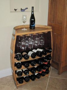 Paso Robles wine barrel wine bottle storage.  Great idea for my patio! - Your Wine Country RV Dealership - Sky River RV Paso Robles - http://skyriverrv.com/