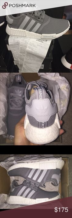 "Adidas grey NMD all sizes Adidas grey NMD Brand new in box! Sizes 5.5-8.5 available just ask! Receipt in pic. NO TRADES, cheaper on merc ""masterD"" Adidas Shoes Athletic Shoes"