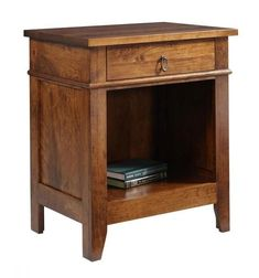Amish Tucson One Drawer Night Stand A hint of rustic style helps define the Tucson. Add one drawer and a wide open cubby compartment next to your bed. Built in the solid wood you select. #nightstands